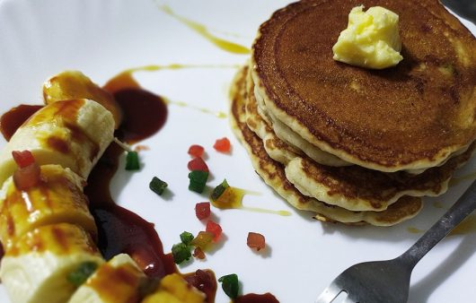 Eggless Pancakes with Caramelized Banana